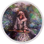 Round Beach Towel featuring the painting For Grandma by Laurie L