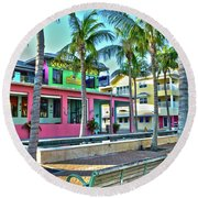 For Myers Beach Restaurant Round Beach Towel by Timothy Lowry