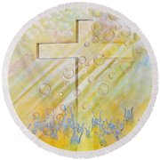 For The Cross Round Beach Towel by Cassie Sears