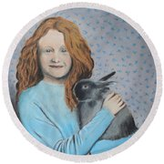 Round Beach Towel featuring the painting For The Love Of Bunny by Jeanne Fischer