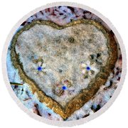 For The Love Of Winter Round Beach Towel by Deena Stoddard