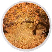 For Two - Autumn - Central Park Round Beach Towel