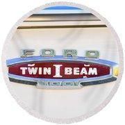 Ford 100 Twin I Beam Truck Emblem Round Beach Towel