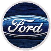 Ford Barn Door Round Beach Towel