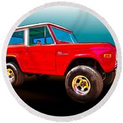 Ford Bronco Classic From Vivachas Hot Rod Art Round Beach Towel