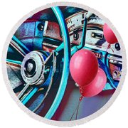 Ford Fairlane 500 Dashboard- Warhol-esque Round Beach Towel by Liane Wright