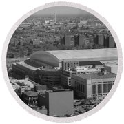Ford Field Bw Round Beach Towel