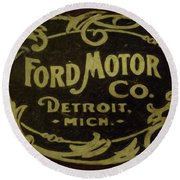 Ford Motor Company Round Beach Towel by David Millenheft