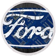 Ford Motor Company Retro Logo License Plate Art Round Beach Towel