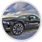 Round Beach Towel featuring the photograph ford mustang car HDR by Paul Fearn
