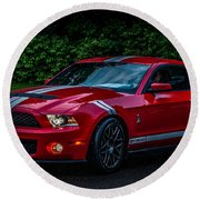 Ford Mustang Gt 500 Cobra Round Beach Towel