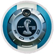 Ford Shelby Gt 500 Cobra Emblem Round Beach Towel