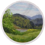 Ford's Pond In Spring Round Beach Towel