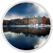 Foreboding Beauty Round Beach Towel