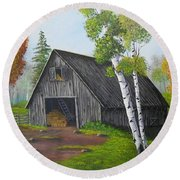 Round Beach Towel featuring the painting Forest Barn by Sheri Keith