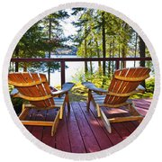 Forest Cottage Deck And Chairs Round Beach Towel