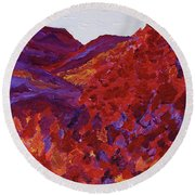 Round Beach Towel featuring the painting Forest Fantasy By Jrr by First Star Art