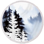 Forest Indigo Round Beach Towel