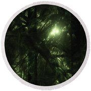 Round Beach Towel featuring the digital art Forest Light by GJ Blackman