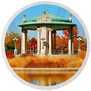 Round Beach Towel featuring the photograph Forest Park Gazebo by Peggy Franz