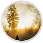 Forest Path Into The Warm Orange Sunset Round Beach Towel