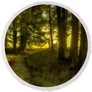 Forest Path Round Beach Towel