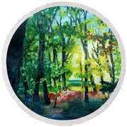 Forest Scene 1 Round Beach Towel