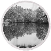 Forest Snow Round Beach Towel by Miguel Winterpacht
