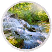 Forest Stream And Waterfall Round Beach Towel by Alexey Stiop