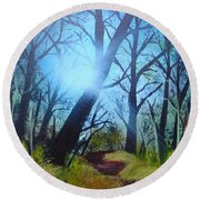 Forest Sunlight Round Beach Towel