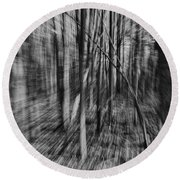 Forest Time B.w Round Beach Towel