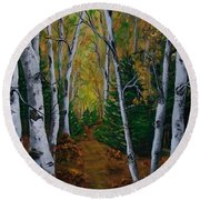 Birch Tree Forest Trail  Round Beach Towel