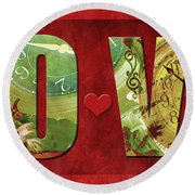 Forever Love #2 Round Beach Towel by Claudia Ellis