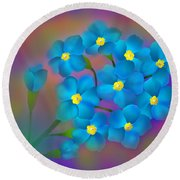 Forget- Me -not Flowers Round Beach Towel by Latha Gokuldas Panicker