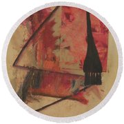 Round Beach Towel featuring the painting Forgive My Tears by Mini Arora