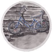Round Beach Towel featuring the painting Forgotten Banana Seat Bike by Kelly Mills