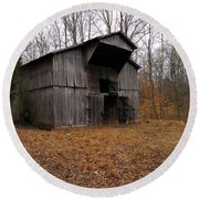Round Beach Towel featuring the photograph Forgotten Barn by Nick Kirby