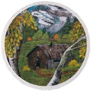 Round Beach Towel featuring the painting Forgotten Cabin  by Sharon Duguay