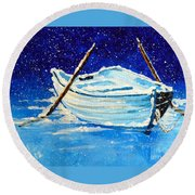Round Beach Towel featuring the painting Forgotten Rowboat by Jackie Carpenter