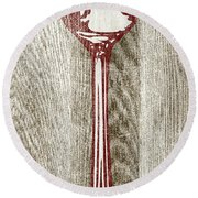 Fork And Spoon On Wood II Round Beach Towel