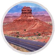 Fork In Road, Red Rocks, Red Rock Round Beach Towel