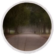 Round Beach Towel featuring the photograph Forsyth Park Pathway by Frank Bright