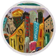 Round Beach Towel featuring the painting Forsythia Sky by Mary Carol Williams