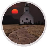 Fort Belmont Sunset Round Beach Towel