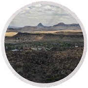 Fort Davis From Davis Mountains State Park Round Beach Towel
