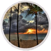 Fort Lauderdale Beach Florida - Sunrise Round Beach Towel by Timothy Lowry