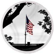 Fort Mchenry Flag Color Splash Round Beach Towel