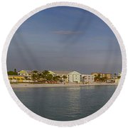 Fort Myers Beach Panorama Round Beach Towel by Anne Rodkin