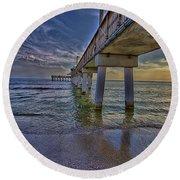 Fort Myers Beach Pier Round Beach Towel by Anne Rodkin