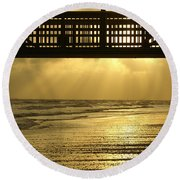 Fort Myers Golden Sunset Round Beach Towel
